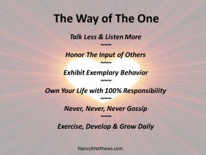 living the way of the one principles